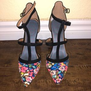 Flower pumps heels strappy neon size 8